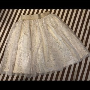Hanna Andersson tulle and gold flecked kids skirt.